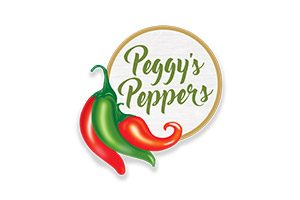 Full-color logo with red and green peppers